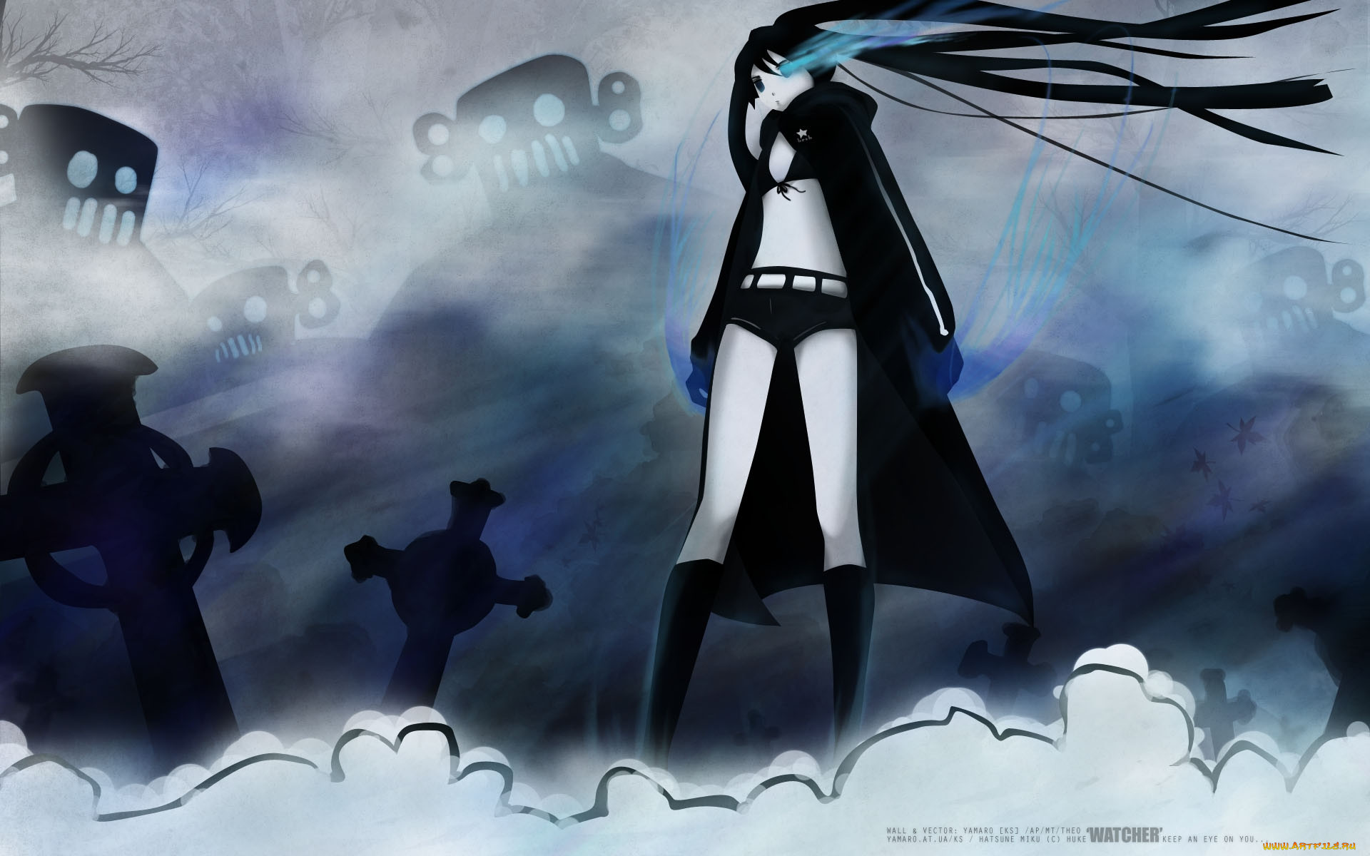 аниме, black, rock, shooter